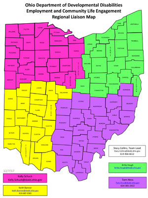 Ohio Department of Developmental Disabilities Employment and Community Life Engagement Regional Liaison Map