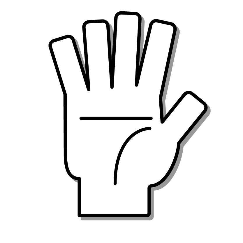 A hand holding up five fingers.