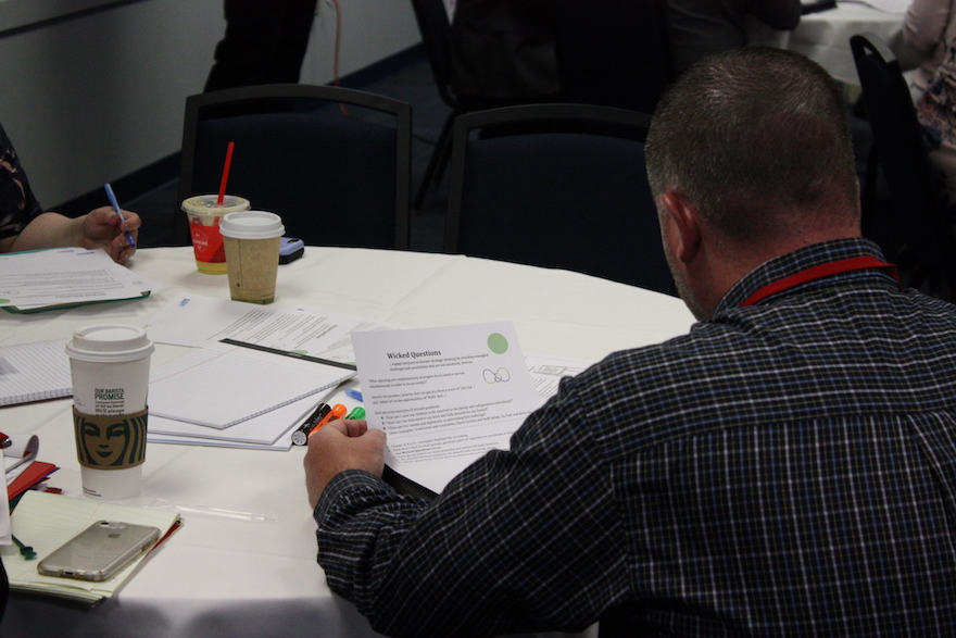 Attendee looking at a paper titled Wicked Questions