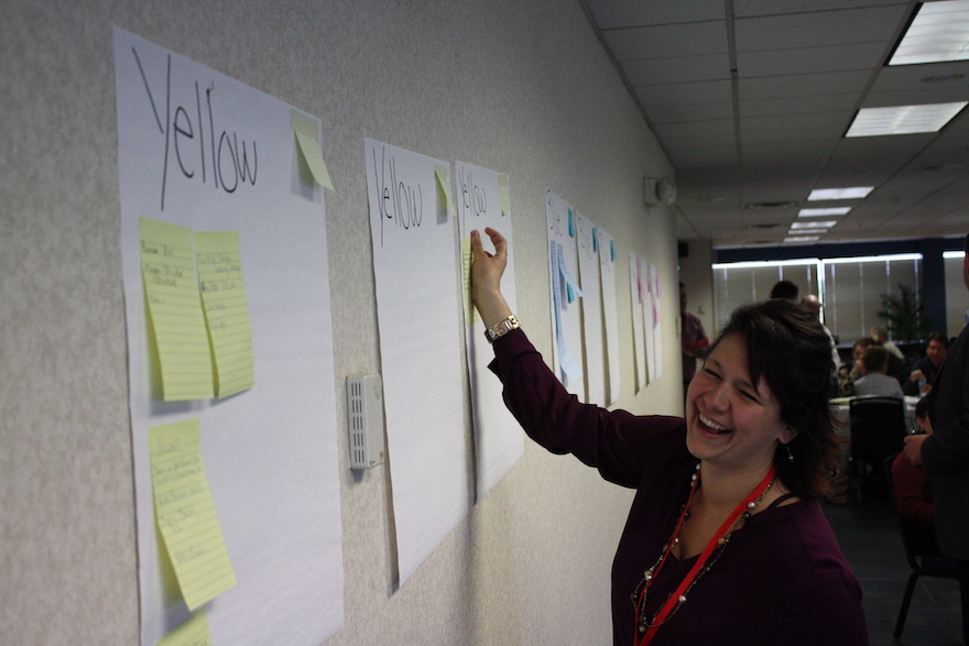 Starr Dobush sticking post it notes to flip chart on the wall labeled yellow